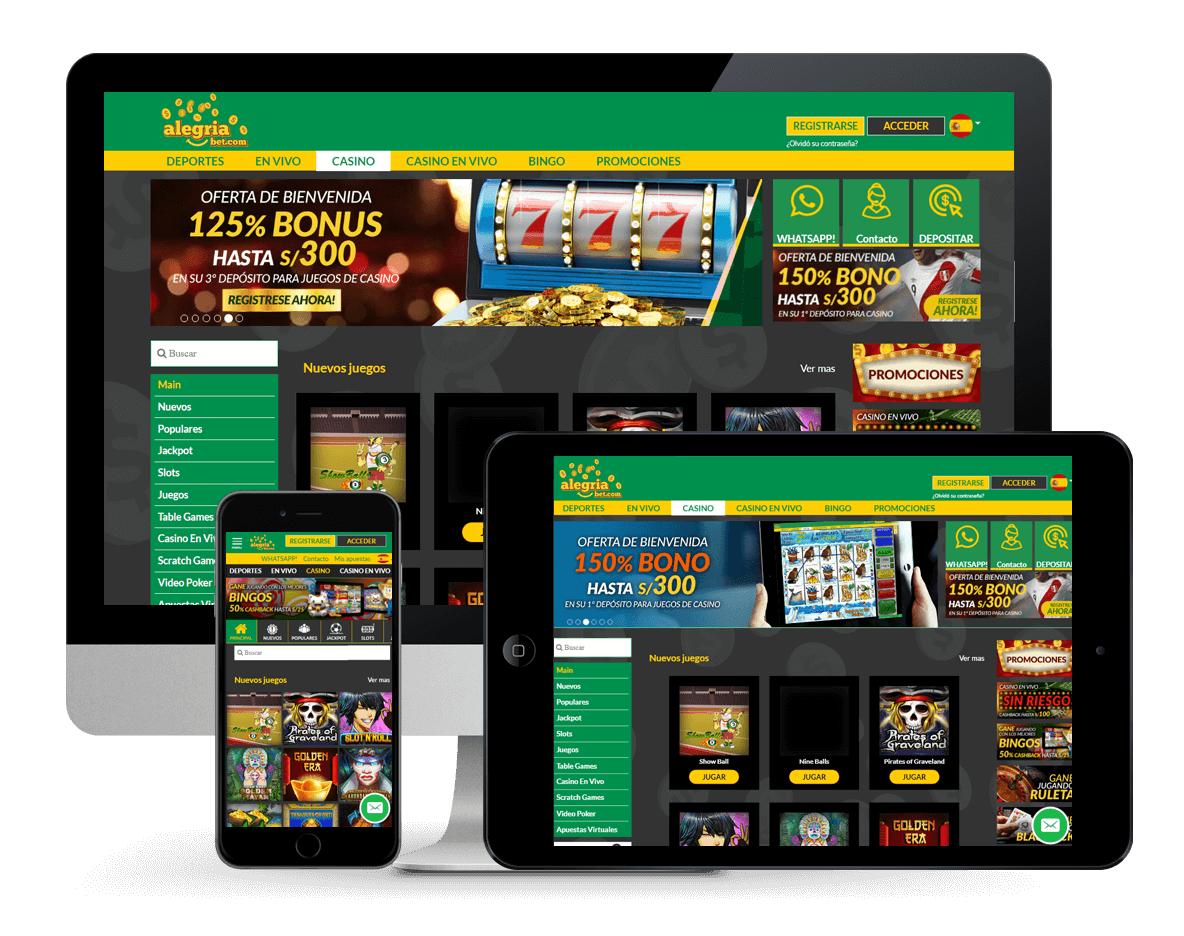 An image of the Alegriabet casino on multiple platforms