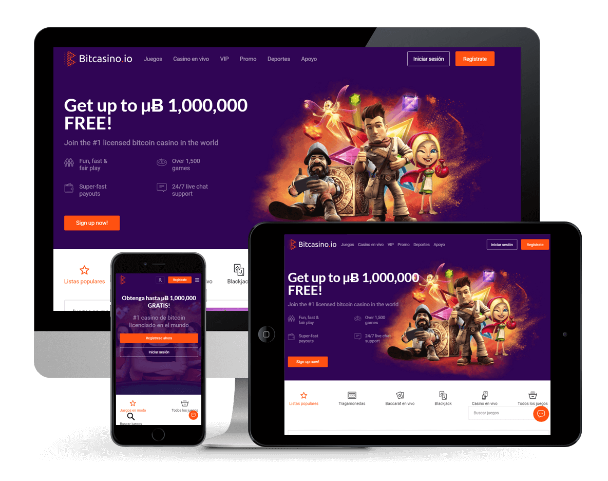 An image of Bitcasino on multiple platforms